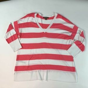 Tommy Bahama Womens Blouse Pink White Stripe M